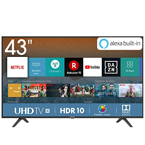Hisense H43BE7000 Smart TV LED Ultra HD 4K 43', HDR, Dolby DTS, Slim Design, Tuner DVB-T2/S2 HEVC Main10, VIDAA U3.0 AI, Nero [Esclusiva Amazon - 2019]