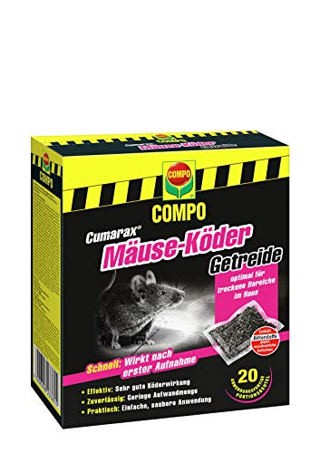Compo Cumarax Mäuse-Köder Getreide, Anwendungsfertiger Köder gegen Mäuse, 200 g