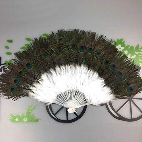 XINTIAN Abanicos de flores con plumas de pavo real para bailar, decoracin de estilo chino, elegante, para bodas, fiestas, flores, plegables, color blanco