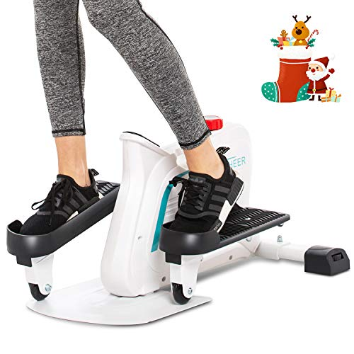 ANCHEER Mini Elliptical Machine, Compact Fitness Exercise Trainer with Adjustable Resistance & Built-in Monitor, Free Installation Quiet Stand Up Trainers for Home Office (White)