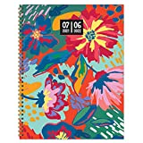 """TF PUBLISHING - July 2021 - June 2022 Painted Flowers Large Daily Weekly Monthly Planner & Coordinating Planning Stickers - 12 Month Academic Year Planner - Faux Monthly Tabs - 9"""" x 11"""""""