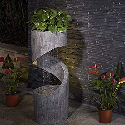 "Glitzhome 31.69"" H Outdoor Water Fountain with LED Light Decorative Pedestal Water Fountain with Submersible Pump Vintage Decor for Garden Patio Deck Porch"
