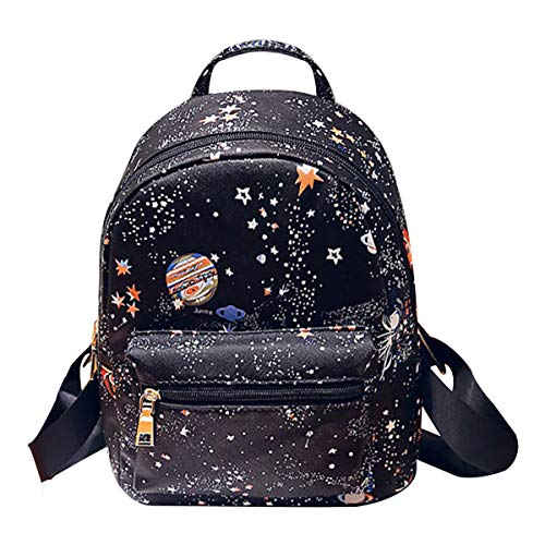 CLARA Girls Fashion Mini Backpack Star Universe Space Printing Schoolbag PU Leather Casual Daypack Small Satchel Black