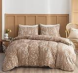 Janzaa Queen Comforter Set Taupe Comforter,3 PCS Bedding Sets Floral Comforter Set Plant Flowers Printed on Lightweight Comforter for All Season