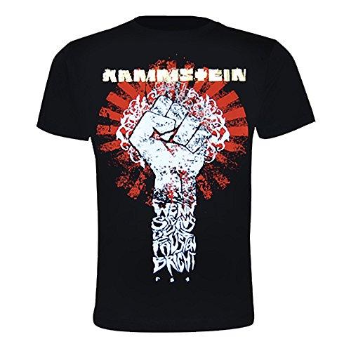 Rammstein Herren T-Shirt Sonne, Offizielles Band Merchandise Fan Shirt schwarz mit mehrfarbigem Front und Back Print (XL, Schwarz)