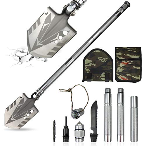 DIWANGUS Folding Shovel Portable Camping Shovel Tactical Shovel Multitool Survival with Saw Rod Knife for...