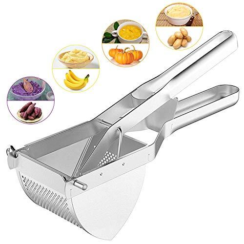 Edelstahl-Kartoffelpresse, Spätzlepresse für Kartoffel Obst Fleisch, Wirksam Küche Helfer, spülmaschinenfest, Silber