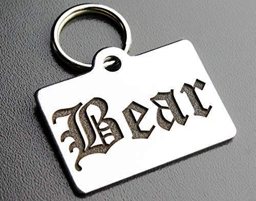 Stainless Steel Custom DEEP Engraved Pet ID Tags Personalized Front and Back Dog Tags for Dogs and Cats (Rectangle 7/8' x1-1/4 (2-Side Engraving))