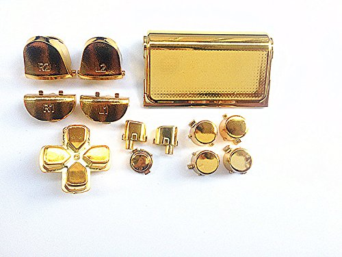 Gold Chrome Plating LR Buttons botones Mod Kits+Touch Pad for PS4 Controller DualShock 4