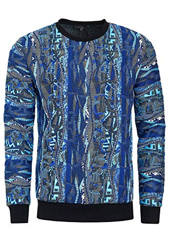Sudadera con capucha para hombre, de corte regular con cuello redondo, color azul, tallas S-3XL:3XL
