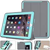 SEYMAC stock Case for iPad 5th/ 6th Generation, iPad 9.7 Inch 2017/ 2018 Case Smart Magnetic Auto Sleep / Wake Cover Leather with Stand Feature for iPad 2017 Release (Gray/SkyBlue)