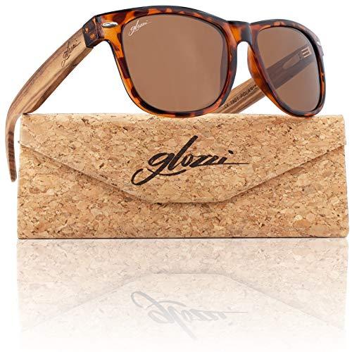 glozzi Gafas de sol de madera polarizadas para hombres y mujeres UV 400 Categoría 3 con estuche - Zebrano Havana