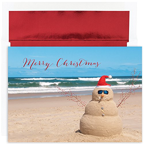 Masterpiece Studios Masterpiece Warmest Wishes 18-Count Christmas Cards, Beach Snowman, 7.87' x 5.62' (872400)