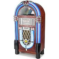 AUNA Graceland TT Jukebox Vintage - Bluetooth, Reproductor CD, Puerto USB, Tarjetas SD/MMC, Compatible MP3, Rockola Discos, Entrada AUX, Radio FM, Ecualizador, Diseño Original