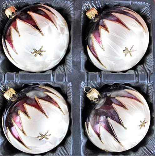Lauscha, set di 4 palline per albero di Natale, 10 cm, in vetro soffiato dipinto a mano, Bordeaux oro, vernice ghiaccio.
