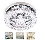 Crystal Ceiling Light, 3 Color Modes Dimmable Star Flush Mount Ceiling Light Modern LED Crystal Pendant Light Fixture for Kitchen, Hallway, Bathroom, Stairwell, Bedroom, Foyer, Entry, Dining Room