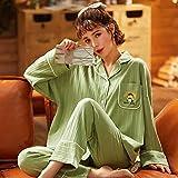 CIDCIJN Pijama para Mujer,Invierno Damas Pijamas Conjunto Algodón Semáforo Collar Casual Pijamas Pijamas Pijama Ropa De Noche Manga Larga Loungewear Mujeres, Verde Claro, M