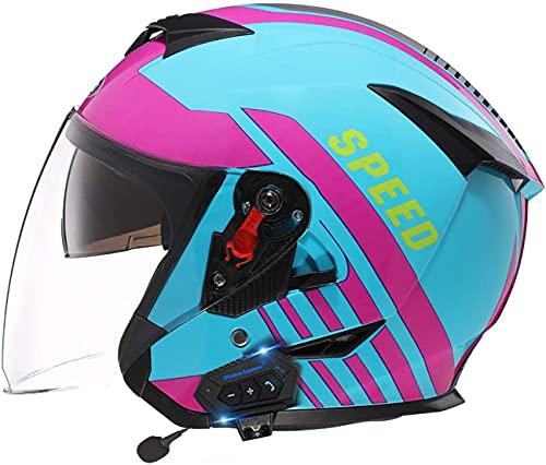 ZLYJ Casco De Motocicleta De Cara Abierta con Bluetooth Casco De Motocicleta De Media Cara Casco De Bicicleta con Ciclomotor Casco De Motocicleta Aprobado por ECE con Visera Solar B,56-60cm