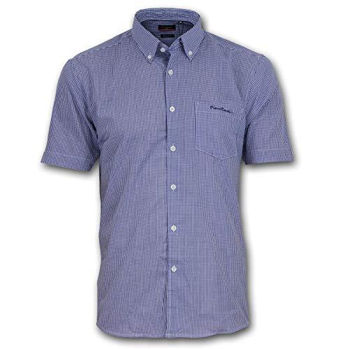 Pierre Cardin Hombre Camisa de Manga Corta Estampado Cuadros o Geométrico con Bordado de Firma (Medium, Navy/White/Gingham)