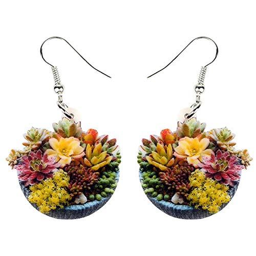 XAOQW Acryl Cartoon Pflanze Bonsai Ohrringe Tropfen baumeln Topf Blume Kaktus Kraut Pflanze Schmuck für Frauen Mädchen Geschenk für Frauen Mädchen Damen Teens Kinder Geschenk-Mehrfarbig