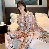 IHCIAIX Pijama de Verano para Mujer, Pijama Unisex para Adultos, Primavera, Manga Larga, 2 Piezas, Traje de Pijama Femenino de Dibujos Animados, Traje de Servicio a Domicilio para Hombres de mang