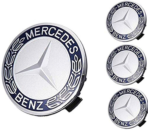 Mercede Benz Mercedes Set of 4 Dark Blue Center Wheel HUB CAPS 75 MM Cover Chrome Emblem