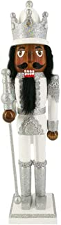Christmas Holiday Wooden African American Nutcracker Figure Soldier with Silver and White Glitter Uniform Jacket, Boots, Crown, and Staff, Large, 15 Inch