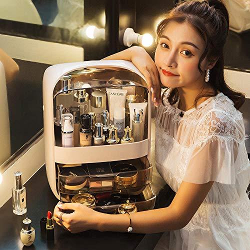 Roshow Net Celebrity Caja de Almacenamiento de cosméticos Productos para el Cuidado de la Piel para el hogar lápiz Labial Caja de Acabado de Escritorio Rack de tocador a Prueba de Polvo-Cristal cuad