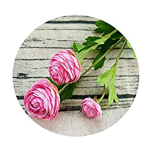 1Piece Lotus Artificial Ranunculus Asiaticus Fake Flowers Silk Flores Fleur Artificiales Peony for Wedding Decoration E
