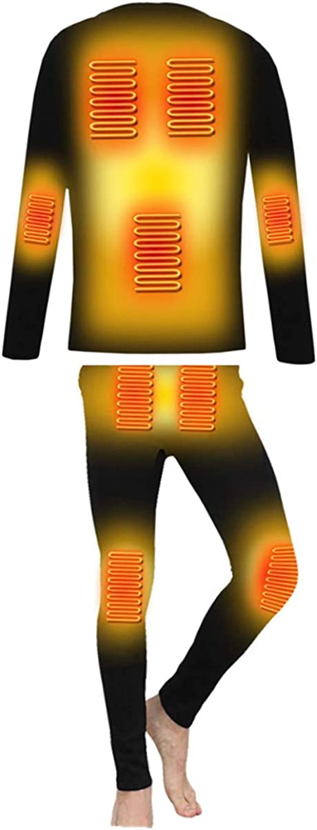 BININBOX Men's Heating Underwear Thermal USB Electric Heated Thermal Long Sleeve T Shirts or Pants Washable