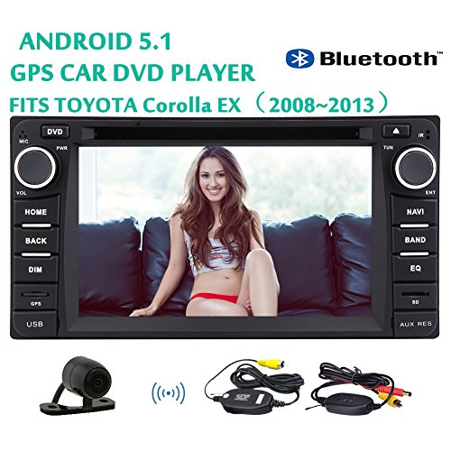 EinCar Wireless Rear Camera Included Android 5.1 Capacitive Touch Screen 6.2 Inch Tablet Car PC for Toyota Corolla EX?¨º?¡ì2008~2013?¨º?Am/FM Radio 3D GPS Navigation Map+Mirror-Link