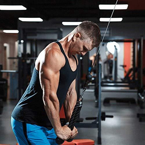 HNWTKJ Cuerda de Tríceps y Bíceps de Fitness Cable de Cuerda, Tira hacia Abajo Cable de Nylon Gimnasios Profesionales Alta Resistencia con Barra Recta Giratoria