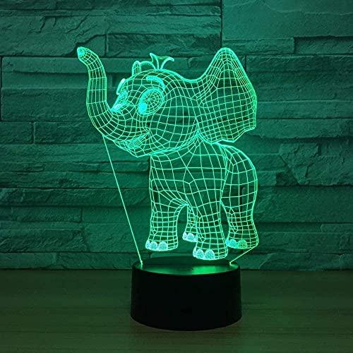 Söt elefant baby 3D USB LED nattlampa strömförsörjning 7 utbytbara glidlampor beröring barnrum lampor nya gåvor