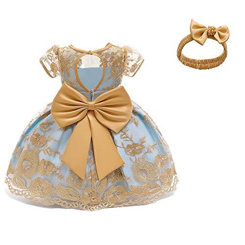 TTYAOVO Baby Mädchen Formelle Bowknot Taufe Stickerei Tutu Kleid Größe (80) 6-12 Monate 703 Gelb