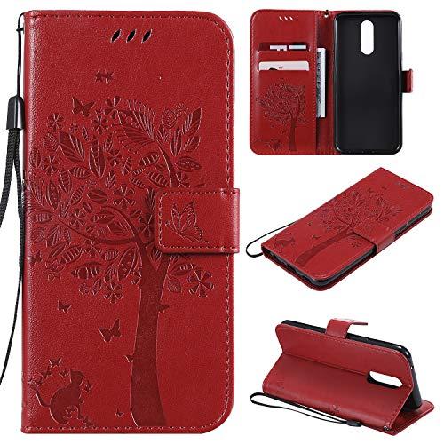 Nancen Compatible with Handyhülle LG K40 / K12 Plus Hülle, Flip-Hülle Handytasche - Standfunktion Brieftasche & Kartenfächern - Baum & Katze - Crimson