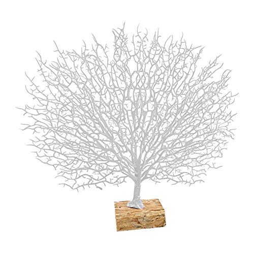 MERIGLARE Estatua de Estatuilla de Rama de árbol de Coral con Base de Resina Decoración de Coral Marino - Blanco, Individual