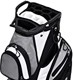 ASK ECHO Premium Golf Cart Bag with 14 Way Full Length Dividers Plus External Putter Tube, 13 Pockets, 15 Way Top, with Rain Cover, Black
