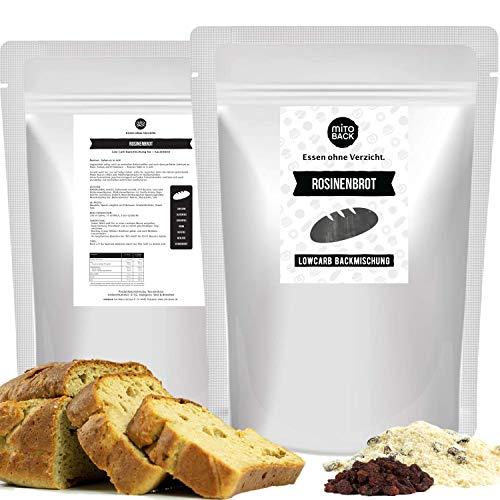 MITOBACK - Rosinenbrot Brotbackmischungen á 151 g - Low Carb Eiweiß Brotbackmischung - Lowcarb Brot - Eiweißbrot Backmischung: Glutenfrei, Kohlenhydratarm, Hefefrei, Sojafrei, ohne Zucker und Mehl