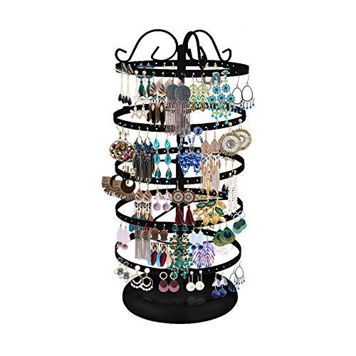 220 Trous Rangement Bijoux, 5 Niveaux Présentoir Porte-Bijoux Rotatif en Fer pour Boucles d'oreilles Afficher Bracelets Colliers Boucles (Noir)