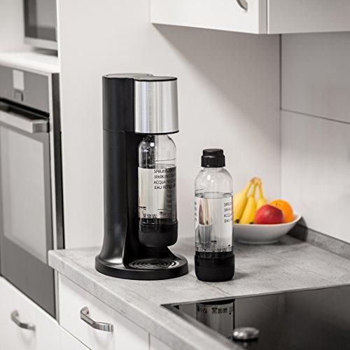 Levivo Wassersprudler Starter-Set inkl. 2 Sprudelflaschen & CO2-Zylinder 60 Liter in Weiß oder Schwarz, Schwarz - 6