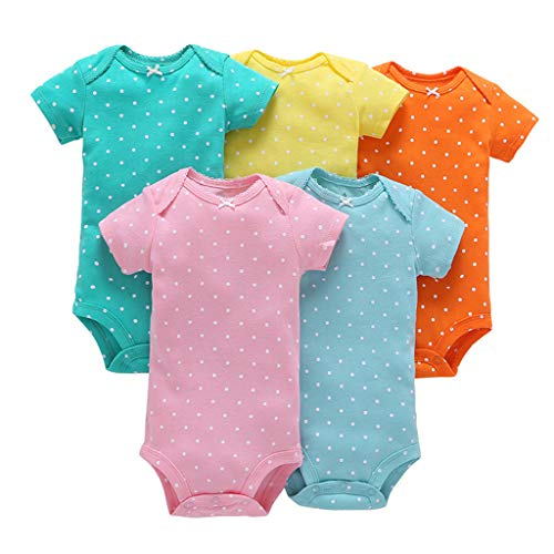Bebé Niñas Manga Corta Body Paquete de 5 Mono Algodón mameluco Pijama Conjuntos 12-18 Meses