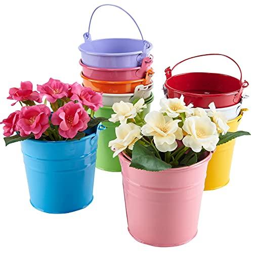 Asvert 10 x Metall 10er Hängetöpfe Set Blumentopf Pflanztopf mit abnehmbarem Griff Blumenübertopf für Balkon Garten Pflanzer Wohnkultur