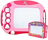 CHUCHIK Toys Magnetic Drawing Board for Kids and Toddlers. Large 15.7 Inch Doodle Writing Pad Comes with a 4-Color Travel Size Doodle Sketch Board for 1 - 4 Year Old Girls (Pink)