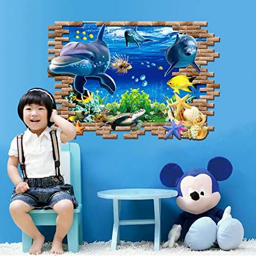 Pegatinas Pared Decorativas Decoración Mural Wall Stickers 3D Mundo Submarino Delfín Etiqueta De La Pared para Niños Habitación del Bebé Decoración del Dormitorio Mural Póster Animales Pegat