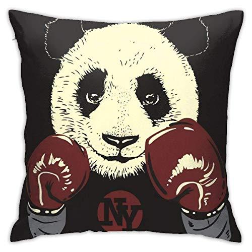 Klotr Kissenbezüge, Panda-Boxhandschuhe, handgezeichnet, modern, quadratisch, Dekoration für Sofa, Bett, Stuhl, Auto, 45,7 x 45,7 cm