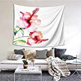 kThrones Tapiz de Pared,Hibiscus Flowers On Plain Background In Pastel Colors Nature Theme Tapestry (Colgante de Pared) Decoración de Pared Mural del hogar para Dormitorio Sala de Estar 203cmx152cm