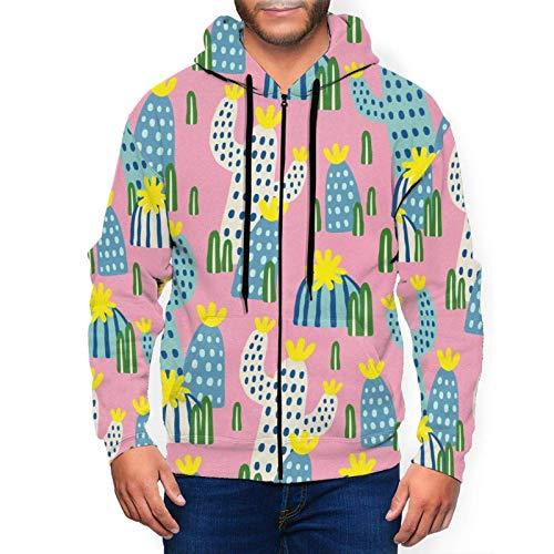 Sudaderas con capucha para hombre suéter dibujado a mano cactus en rosa sudadera con capucha impresa 3D chaqueta cremallera jersey camisa