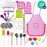 THE TWIDDLERS 30PCS Kit Cuisine Enfant pour Fille | Parfait pour Les Jeux de Rôle | Tablier Enfant Cuisine | Costume et Plus | Inclut Beaucoup Accessoires de Dînette