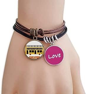 Singapore Sightseeing Shuttle Bus Love Bracelet Leather Rope Wristband Couple Set