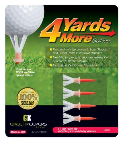 """4 Yards More Golf Tees - 1 3/4"""" Short Tee (4 Red Tees)"""